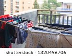 cleen clothes on a balcony | Shutterstock . vector #1320496706