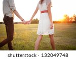 couple holding hands walking... | Shutterstock . vector #132049748