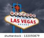las vegas sign with dark... | Shutterstock . vector #132050879