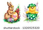 hand drawn watercolor easter... | Shutterstock . vector #1320525320
