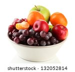 Bowl With Fruits  Isolated On...