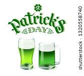 vector green beer glass and mug ... | Shutterstock .eps vector #1320558740