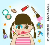 a child with her messy make up... | Shutterstock .eps vector #1320562283