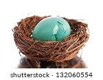 Broken Robin's Egg In Nest On...