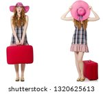 young woman with suitcase... | Shutterstock . vector #1320625613