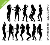 sexy woman silhouettes vector...   Shutterstock .eps vector #132062990