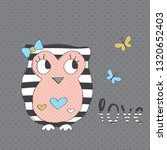 Cute Owl With Butterfly Vector...