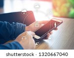businessman and smartphone with ...