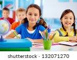 portrait of happy school... | Shutterstock . vector #132071270