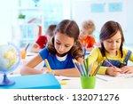 concentrated school children... | Shutterstock . vector #132071276