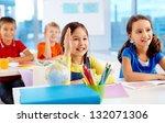 clever schoolkids raising their ... | Shutterstock . vector #132071306