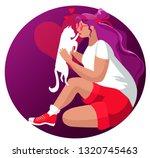 girl hugs beloved cat.vector...   Shutterstock .eps vector #1320745463