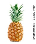 Ripe Whole Pineapple Isolated...