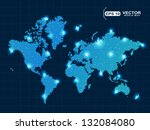 pixel world map with spot lights | Shutterstock .eps vector #132084080