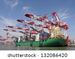container terminal | Shutterstock . vector #132086420