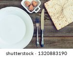 white plate with matzah or... | Shutterstock . vector #1320883190