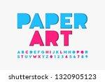 paper cut font  alphabet... | Shutterstock .eps vector #1320905123