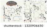 Stock vector cute african animal set zebra hippopotamus giraffe elephant hand drawn color character with 1320906650