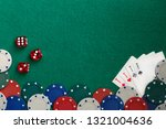 poker chips dice four aces on a ... | Shutterstock . vector #1321004636