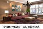 interior of the living room. 3d ... | Shutterstock . vector #1321005056
