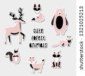 set of cute forest animals.... | Shutterstock .eps vector #1321025213