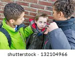 big bullies taking on small boy | Shutterstock . vector #132104966