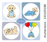 baby boy arrival announcement... | Shutterstock .eps vector #132105188