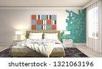 bedroom interior. 3d... | Shutterstock . vector #1321063196