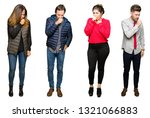 collage of people over white... | Shutterstock . vector #1321066883