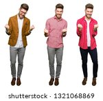 collage of handsome young...   Shutterstock . vector #1321068869
