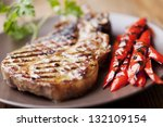 grilled pork chop with grilled... | Shutterstock . vector #132109154