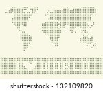 pixelated world map with pixel... | Shutterstock .eps vector #132109820