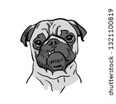 cute pug dog portrait. cartoon...   Shutterstock .eps vector #1321100819