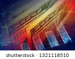 euro coin on stock chart.... | Shutterstock . vector #1321118510
