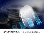 euro coin on stock chart.... | Shutterstock . vector #1321118513