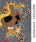 snake and skull | Shutterstock .eps vector #132111986