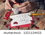 cup of coffee and chocolate... | Shutterstock . vector #1321124423