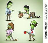 set of four office zombie | Shutterstock .eps vector #132112640