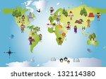 illustration of funny world... | Shutterstock . vector #132114380