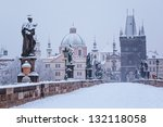 snow morning at charles bridge... | Shutterstock . vector #132118058