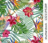 pattern with flowers and leaves.... | Shutterstock . vector #1321195289