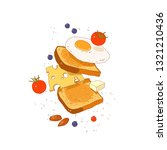 bread  scrambled eggs  cheese... | Shutterstock .eps vector #1321210436