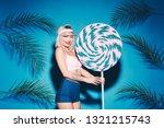 lovely girl posing with huge... | Shutterstock . vector #1321215743