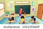 strict  angry female teacher... | Shutterstock .eps vector #1321253609