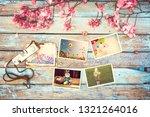 retro camera and paper photo...   Shutterstock . vector #1321264016