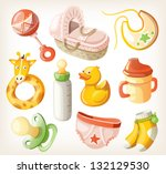 set of design elements for baby ... | Shutterstock .eps vector #132129530
