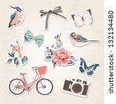 vintage things set birds bows... | Shutterstock . vector #132134480