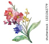 red and blue floral botanical...   Shutterstock . vector #1321362779