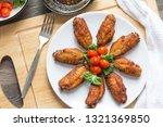 fried chicken on white plate ...   Shutterstock . vector #1321369850