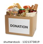 donation box full of different... | Shutterstock . vector #1321373819